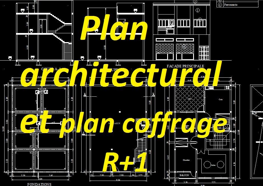 Gut bekannt Exemple plan architectural et plan de coffrage dwg pour bâtiment R  BP39