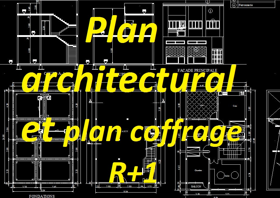 exemple plan architectural et plan de coffrage dwg pour b timent r 1 cours g nie civil. Black Bedroom Furniture Sets. Home Design Ideas