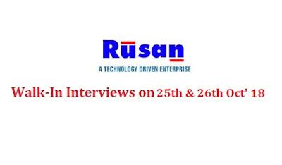 Rusan Pharma Ltd Walk-In Interviews at 25 & 26 October