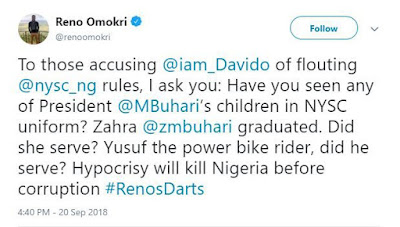 Nigerians are hypocritical for Accusing Davido of flouting NYSC rules – Reno Omokri