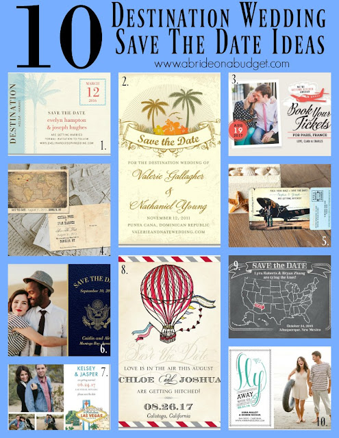 Need save the date ideas for your destination wedding? This post on www.abrideonabudget.com has some great ideas!