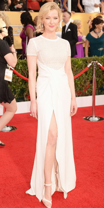 Gretchen Mol in a white and exciting J. Mendel gown at the SAG Awards 2014