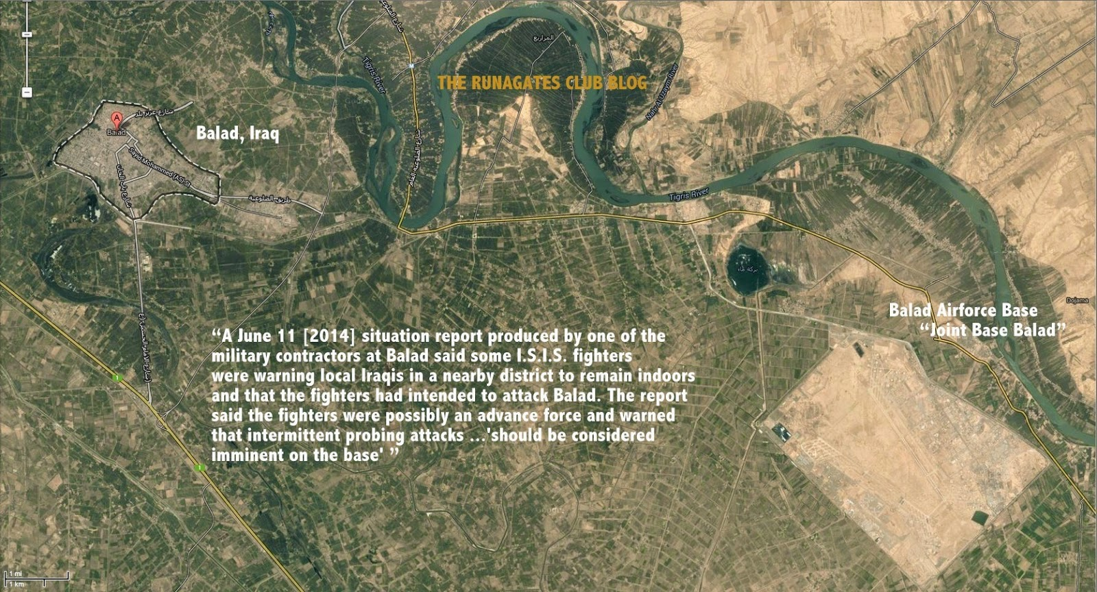 Initial ISIS  attacks on Balad  Airforce Base, June 2014  - situation map