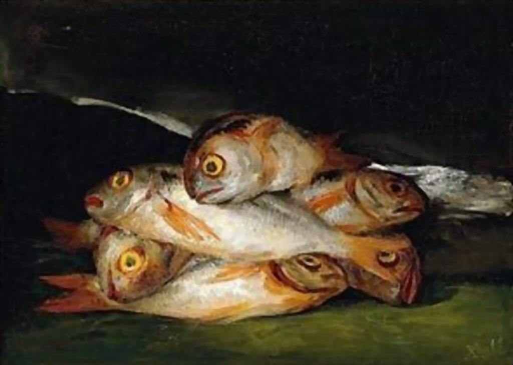 Cuadros modernos pinturas y dibujos bodeg n con pescados for Cuadros con peces