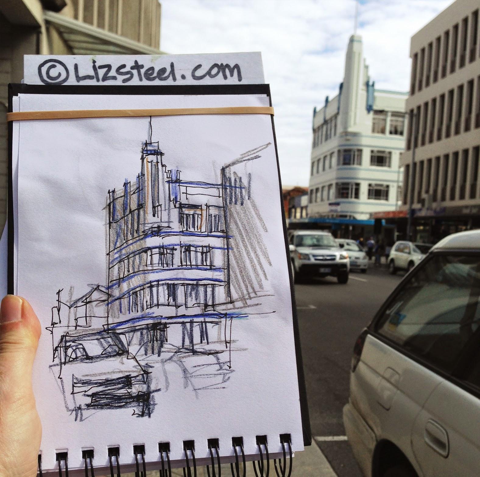 tastrip street scenes vs iconic building sketches liz steel liz