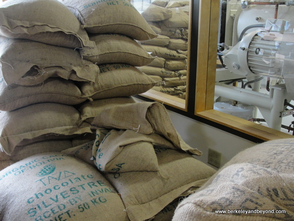 burlap bags at Dick Taylor Craft Chocolate in Eureka, California