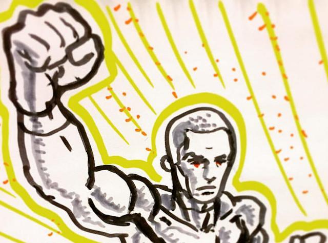 Detail of super hero in flight ink sketch