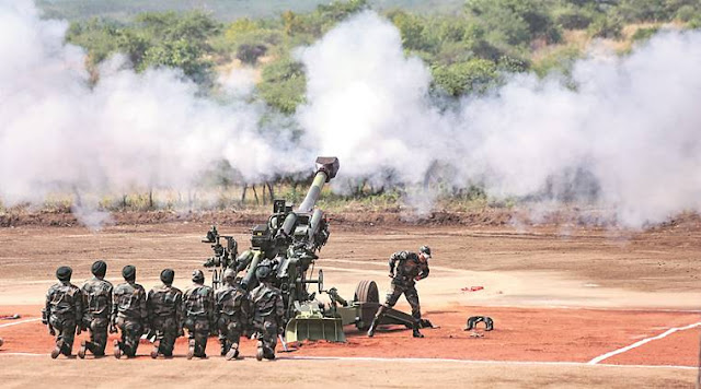 Image Attribute: An M777 Howitzer gun is fired at its formal induction into the Army at the Deolali artillery centre in Nashik district. / Source: Press Trust of India