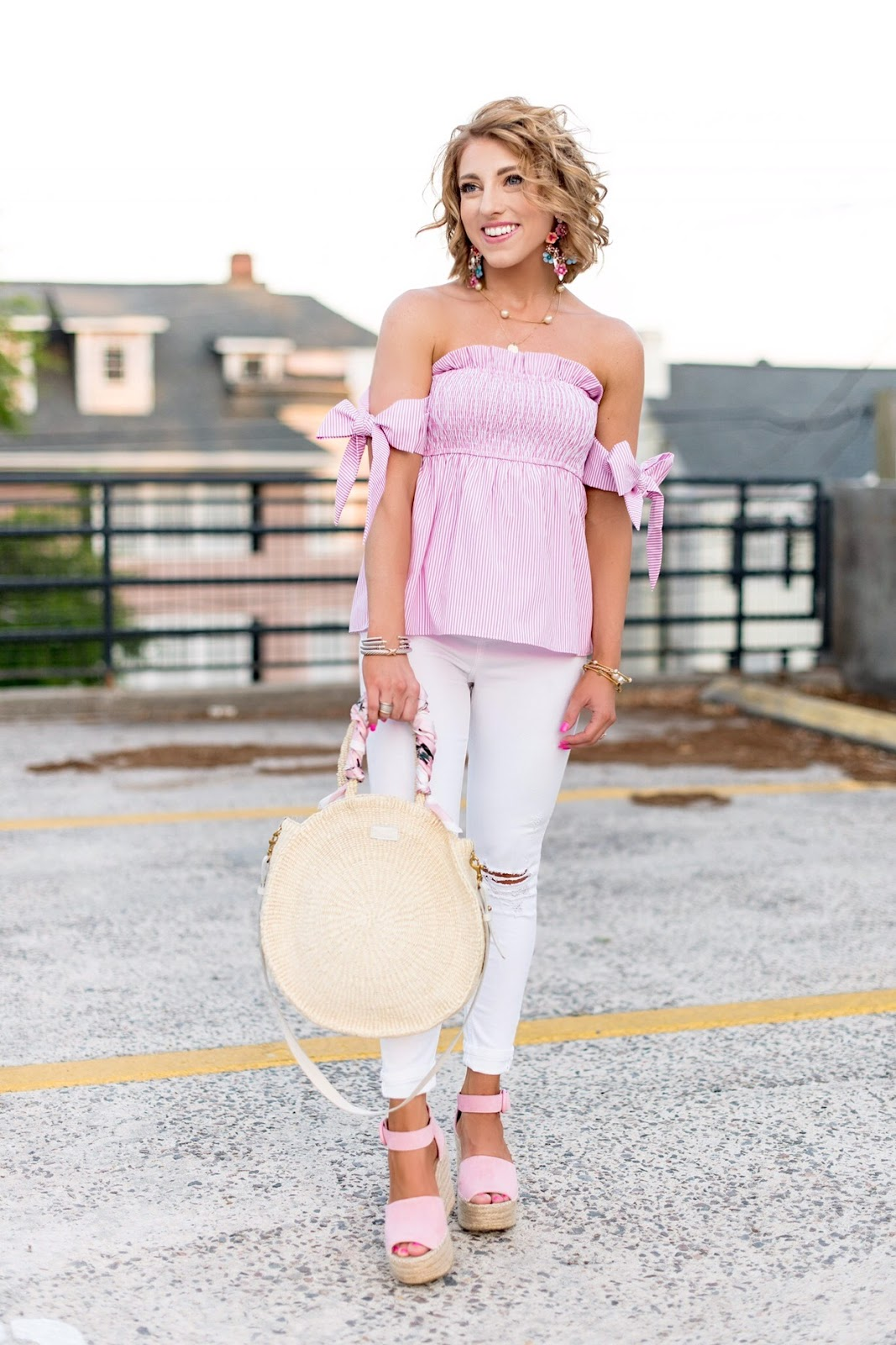 Spring Style: OTS Bow Sleeve Top & Clare V. Alice Bag - Something Delightful Blog