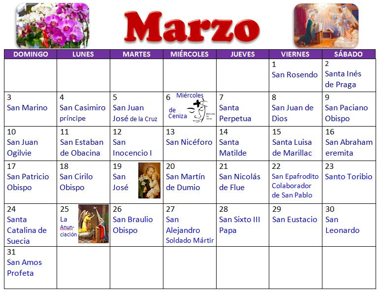 Calendario Santoral 2019.Mi Parroquia De Los Doce Apostoles Santoral De Marzo
