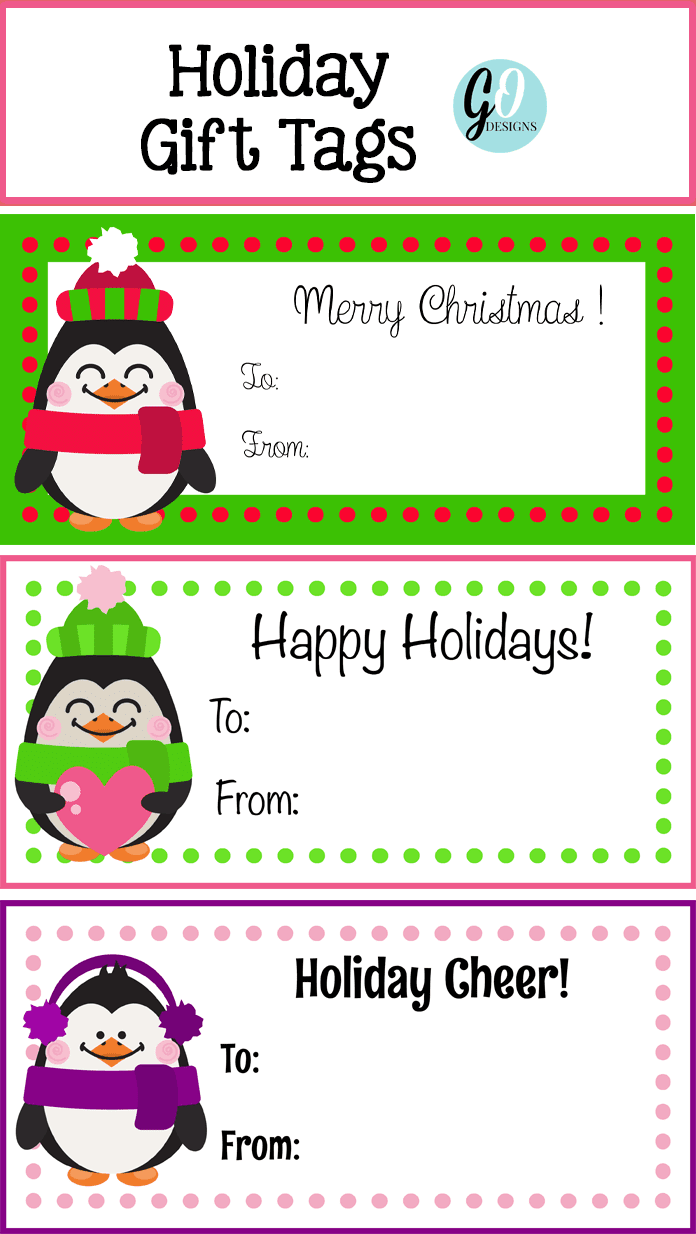 Free Penguin Holiday Gift tags from GradeONEderfulDesigns.com
