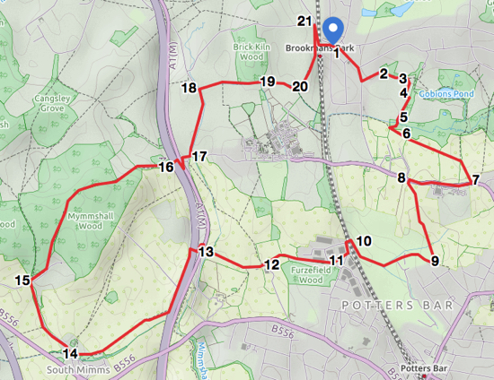 Map for Walk 32: Brookmans Park SW Loop
