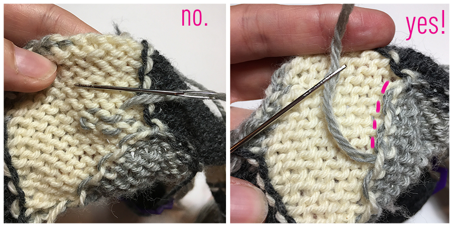 5 Tips for Better Intarsia Knitting, by Dayana Knits. 4. Weave in along color changes