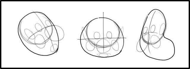 нарисуем кружочками места где будут располагаться элементы смешной мордашки