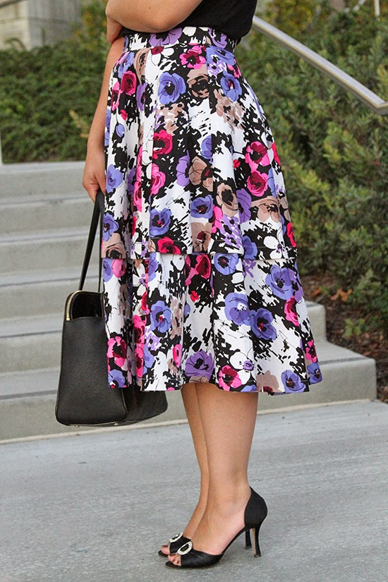 KTR Collection Floral Midi Skirt and Manolo Blahnik Heels