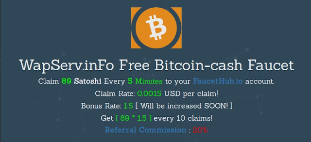 WapServ inFo Free Bitcoin Cash Faucet