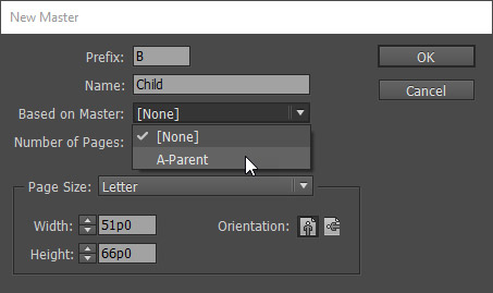 New Master dialog in InDesign