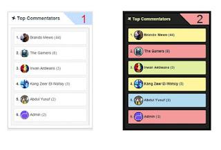 2 Widget Top Commentators Keren untuk Blog Anda