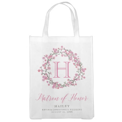 Personalized Floral Wreath Monogram Matron of Honor Tote Bag
