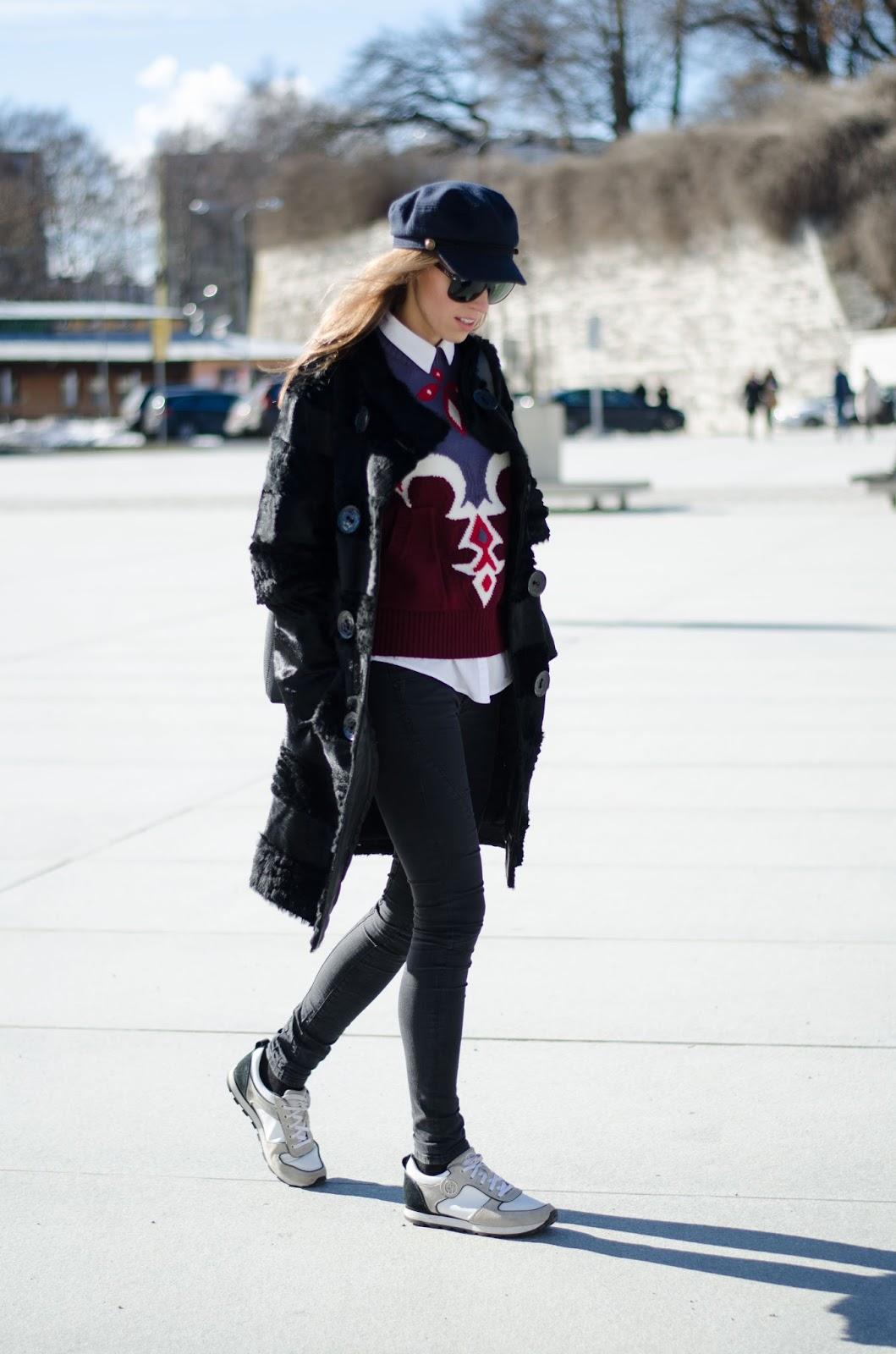 kristjaana mere fur coat sneakers cap spring outfit