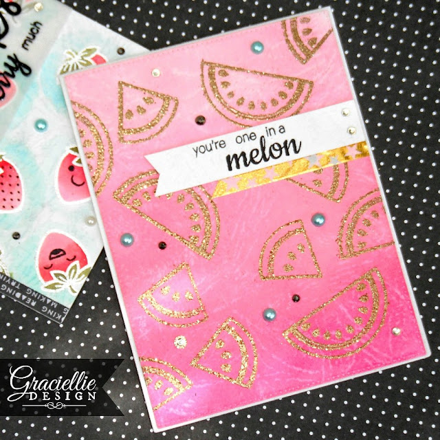Sunny Studio Stamps Fresh & Fruity Watermelon Card by Graciellie Design