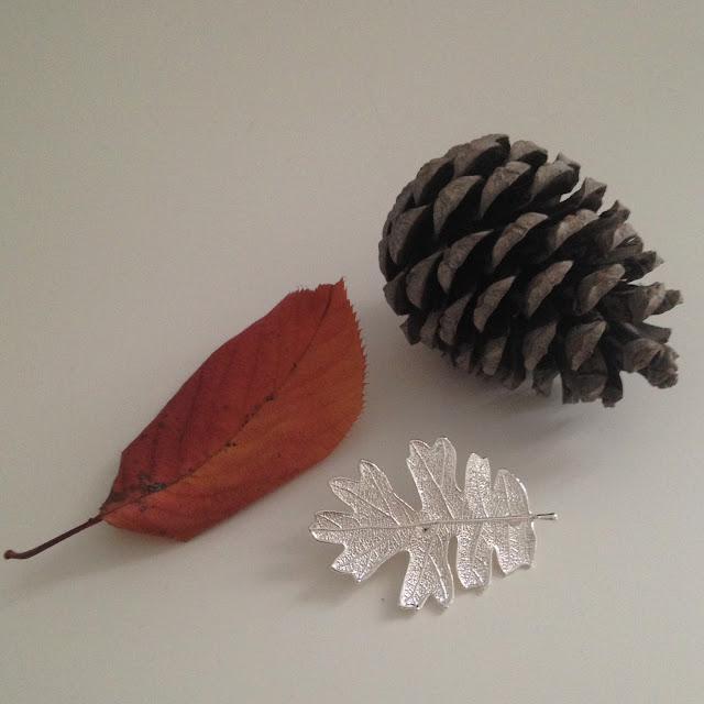 Silver real oak leaf brooch