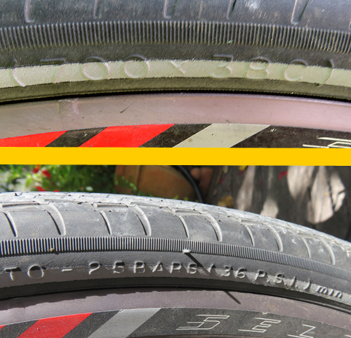 Michelin Bicycle tires with PSI and Size Lettering