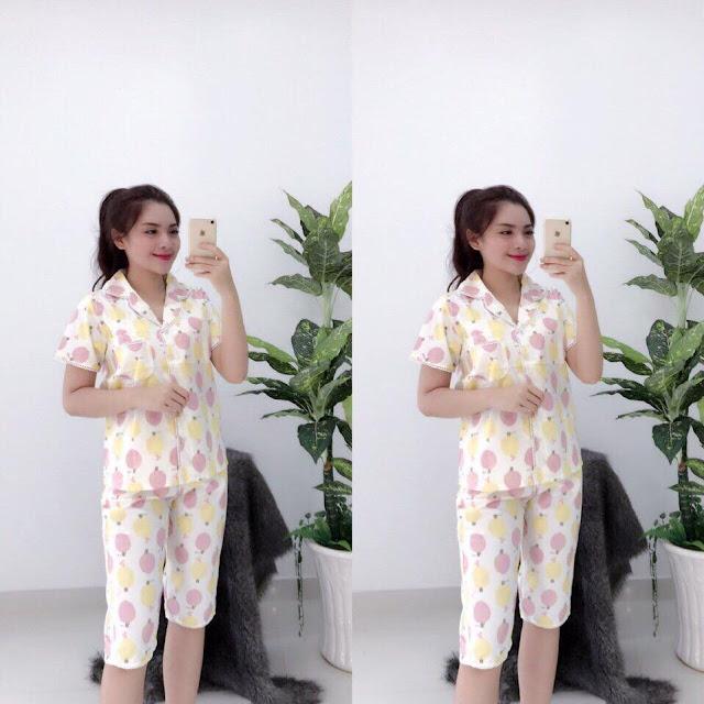 Đồ bộ pijama lửng kate dễ thương cho nữ tphcm