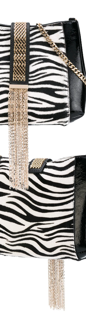 LANVIN Zebra Print Satchel in Black/White