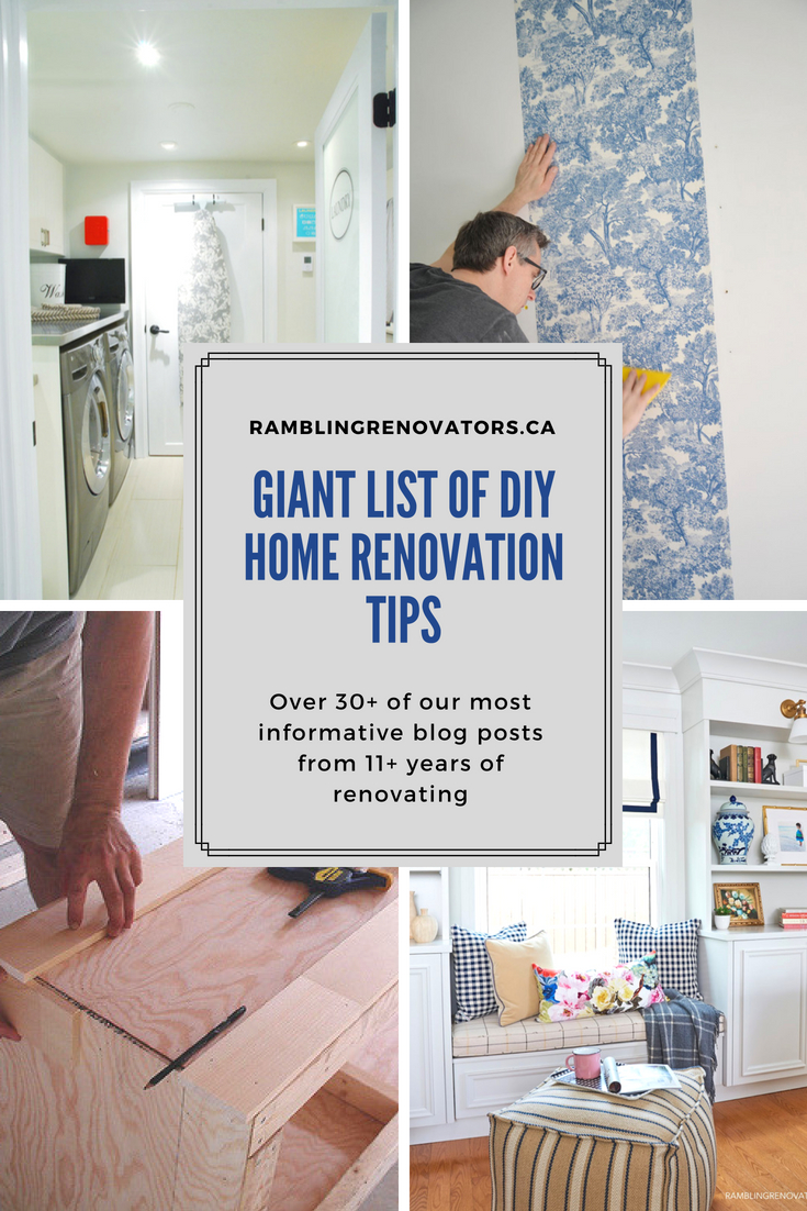 A Giant list of DIY Home Renovation Tips #homerenovation #homeremodel | Ramblingrenovators.ca