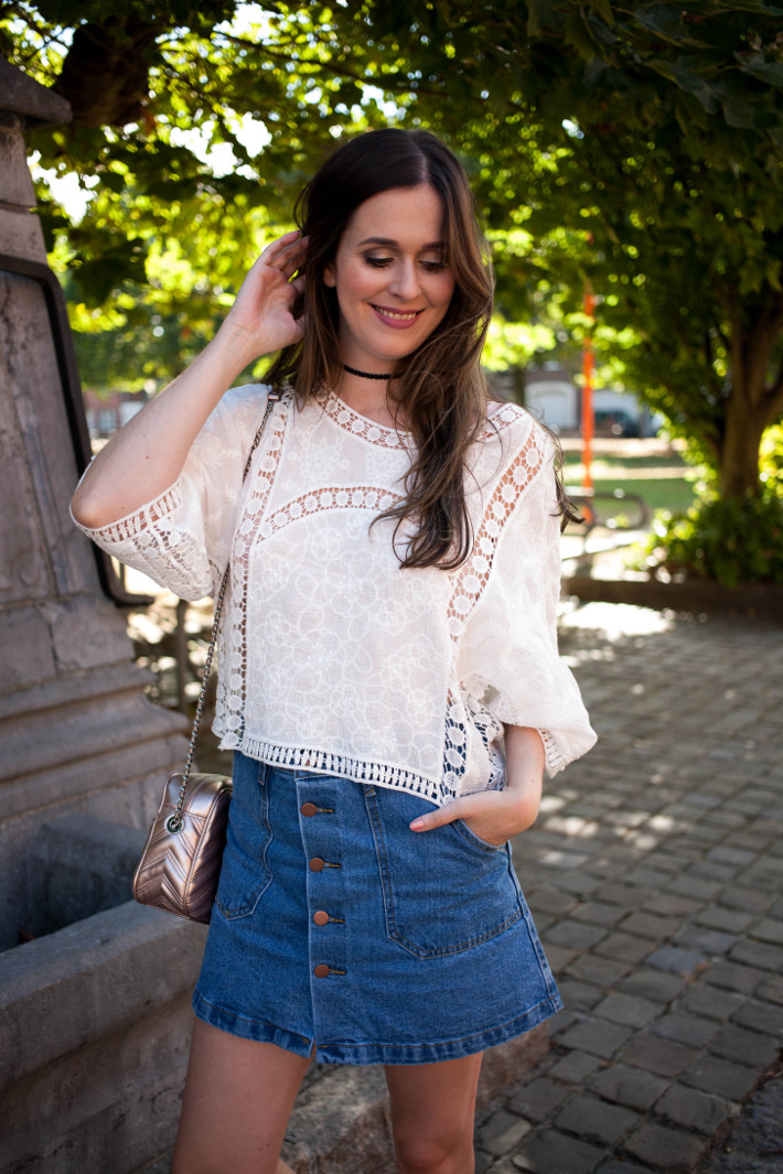 Outfit: crochet blouse, button down denim skirt