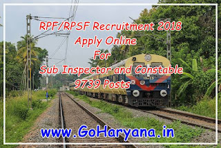 RPF/RPSF Recruitment 2018 - Apply Online For The Post of Sub Inspector and Constable 9739 Posts