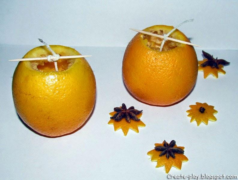 Свечи изапельсинов Новый год