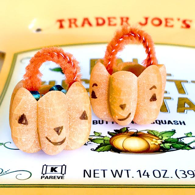 Make an adorable mini jack-o-lantern using Trader Joe's butternut squash pasta | Linzer Lane Blog School of Cute