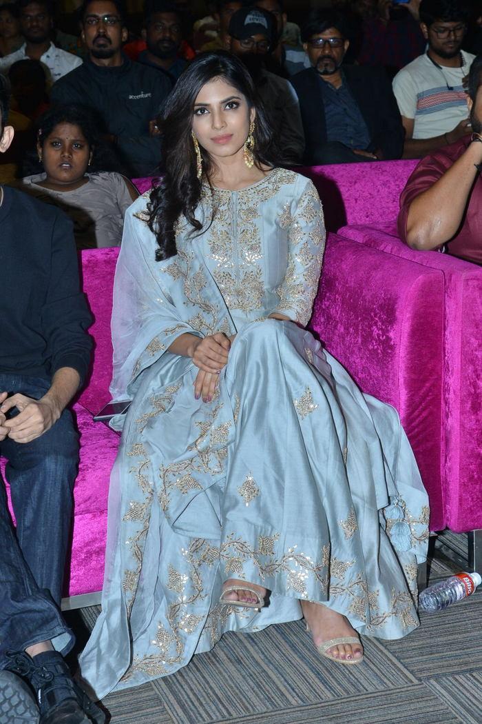 Malavika Mohanan in Hot blue dress at Telugu Movie Peta Pre-Release Event