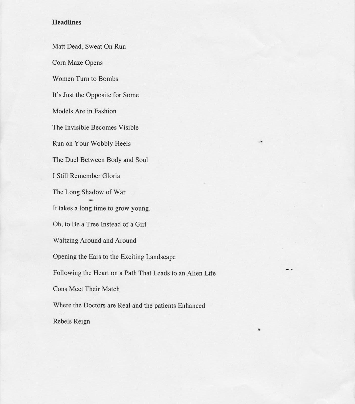 Bio Poem High School Students