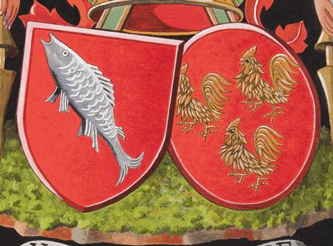 Détail d'un tableau armorié, de Neve de Roden. Par Nolet de Brauwere.