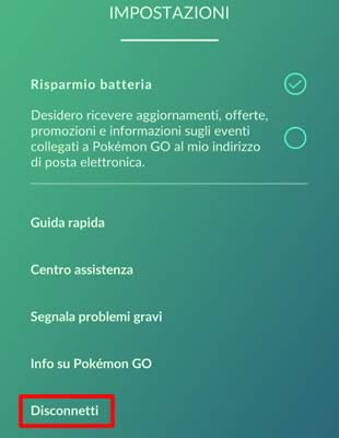 Come disconnettersi da Pokemon GO