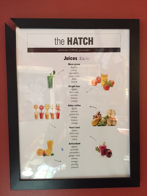 juice menu, The Hatch at Vogue House