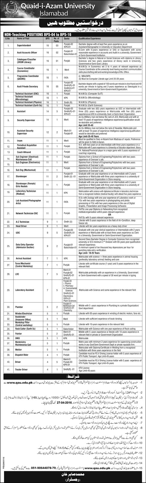 Non teaching Jobs in Quaid e azam University Islamabad