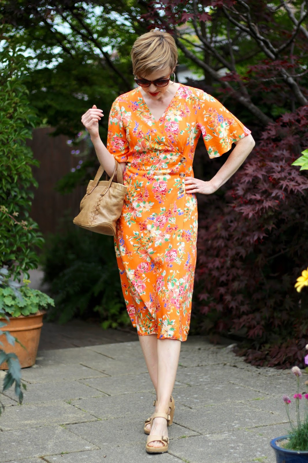 Orange Floral Wrap Dress & Light Tan | Summer Outfit | Fake Fabulous