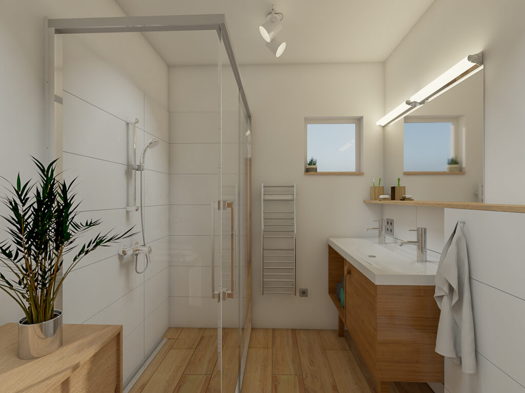 Wizualizacja łazienki Jasne Płytki W łazience Refreszing
