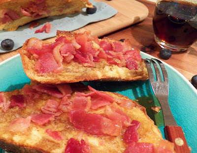 Challah French Toast and Bacon Pull-Apart, closeup view