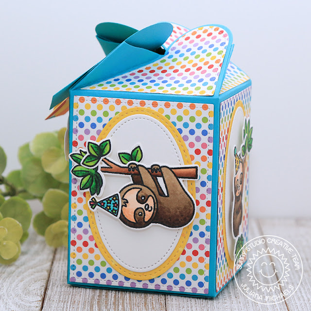 Happy Birthday Wrap Around Gift Box featuring Sunny Studio Stamps Wrap Around Box Dies, Silly Sloth Stamps and Surprise Party 6x6 Paper Pad