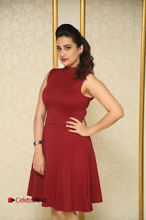 Telugu Tollywood Anchor Manjusha Pos in Red Short Dress  0009.JPG