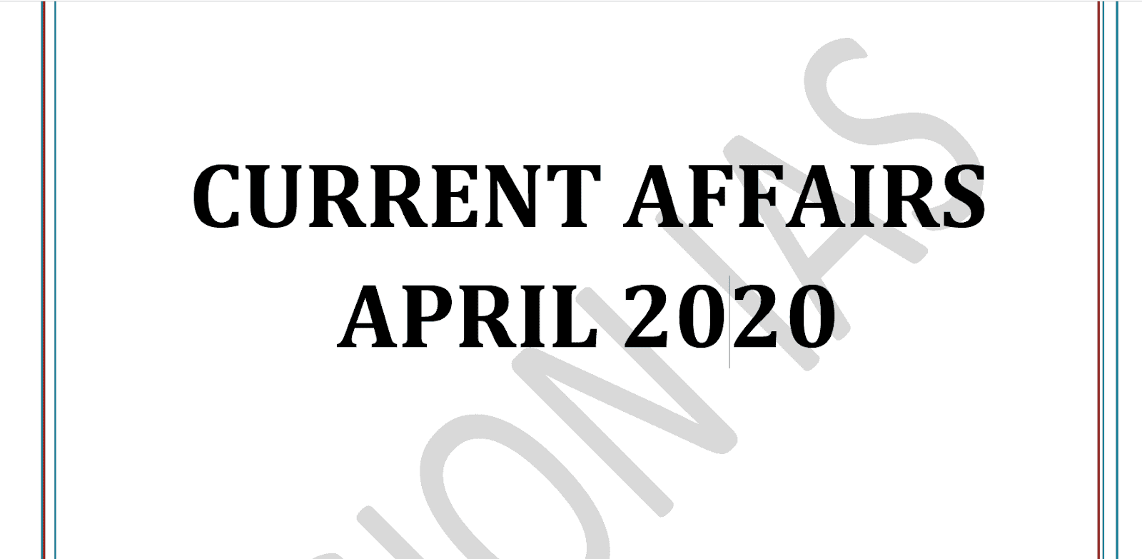 Vision IAS Current Affairs April 2020 Download PDF
