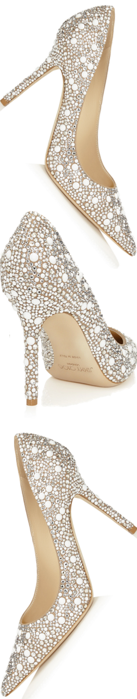 Jimmy Choo Abel White Suede with Crystals