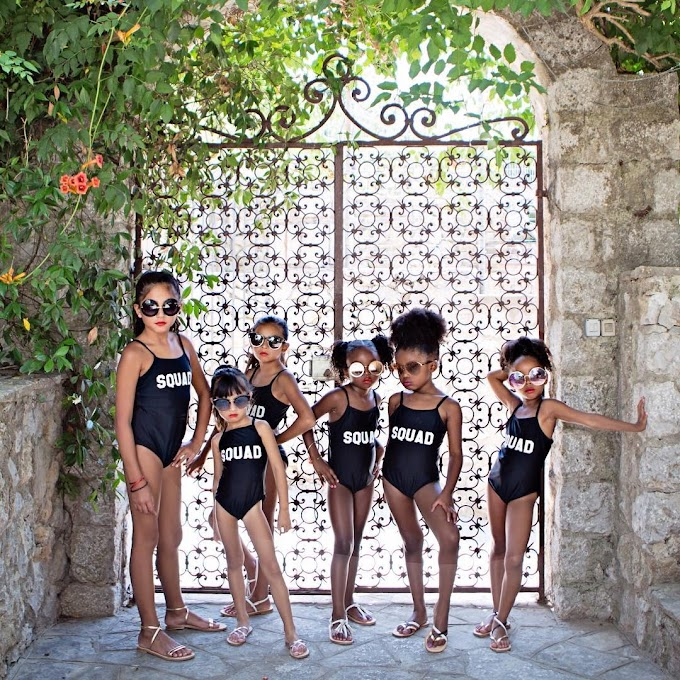 Sqaud goals! See these cute little models pose up a storm in their swimsuits