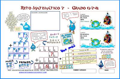 Día del Agua, Día mundial del agua, Retos Matemáticos, Desafíos Matemáticos, Criptoaritmética, Alfamética, Diferencias, De cuántas formas se puede leer, Uno más