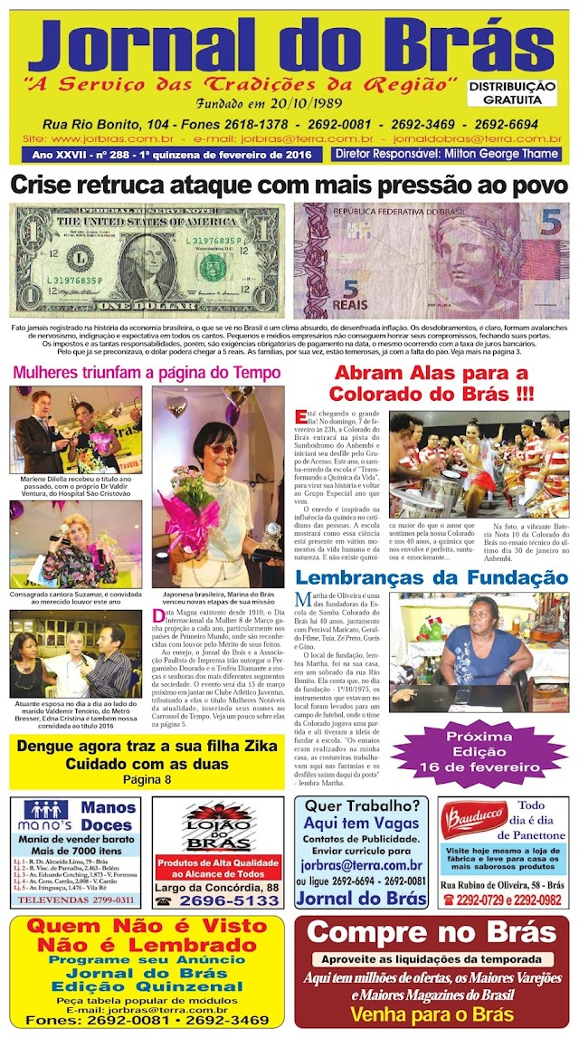 Destaques da Ed. 288 - Jornal do Brás